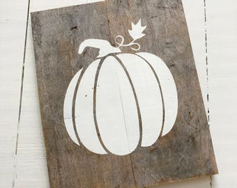 Wood and white pumpkin Large- Farmhouse sign on Reclaimed Wood, fall decor, pumpkin sign