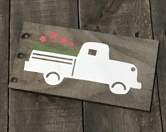 Spring Truck, Vintage Truck Decor, spring signs Easter decor, Easter sign, spring decor, Spring on reclaimed wood,
