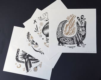 Risoprint cards, gold and black.