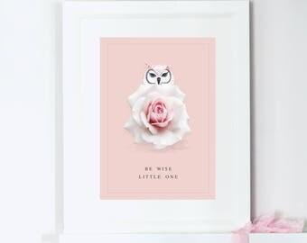 Owl Art Print, Personalised Print, Nursery Prints Girl,  Be Wise Little One, Motivational Quote Print, Nursery Wall Art, Girls Bedroom Print