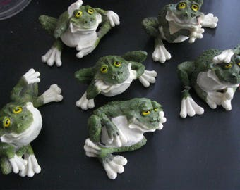 Frogs Ceramic Collectable 6 Different Poses One With a Broken Foot