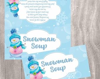 Snowman Soup Treat Bag Topper, Printable Christmas Candy Bag Topper, Instant Download, Watercolor Snowman Soup Treats Tags