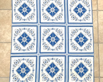 SWEDISH PRINTED TABLECLOTH / Cloth / Sweden / Swedish / Cotton / Blue and white / Home decor