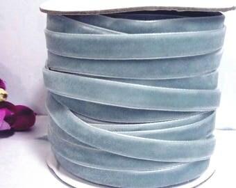 Nile Blue  / Grayish Blue / Dusty Blue Velvet Ribbon Trim Craft Wrap 3/8 inch / 1cm / 10mm width W21 -078