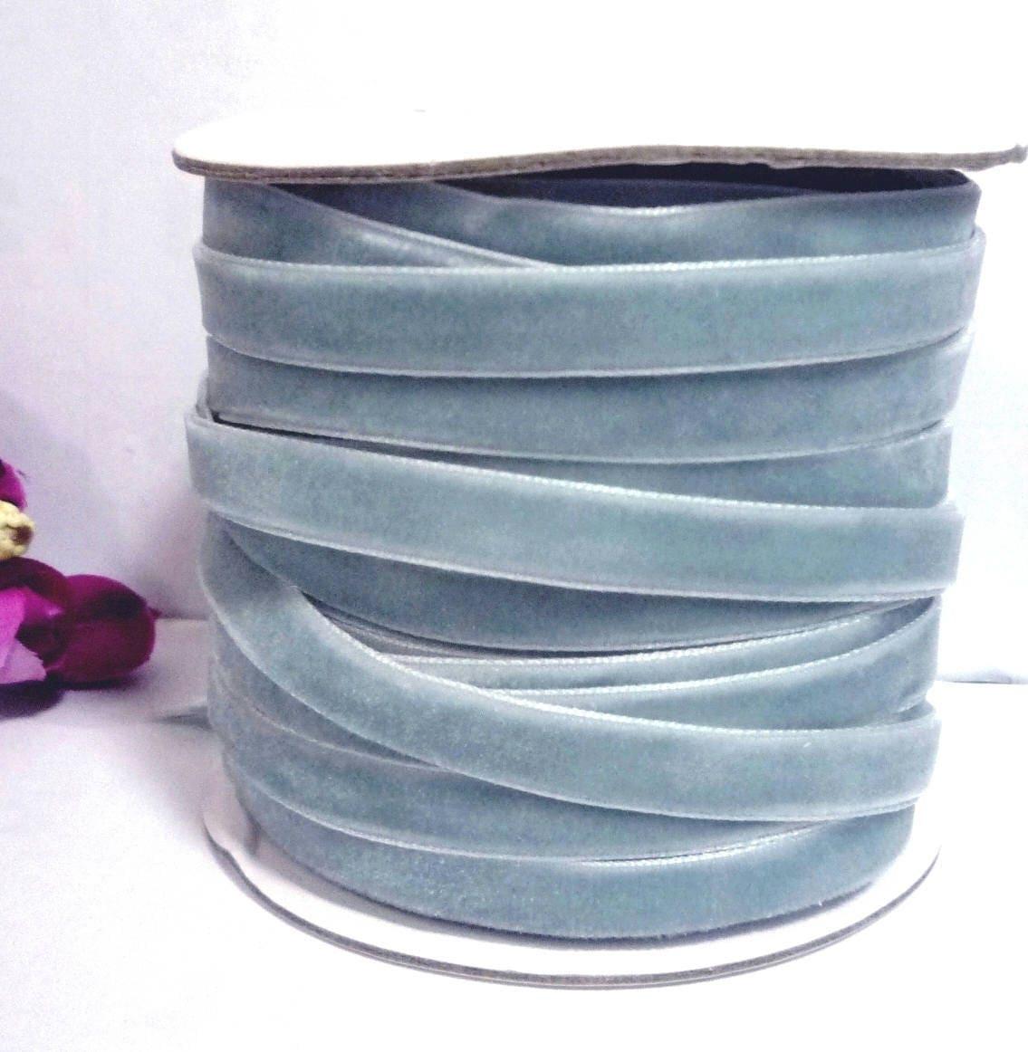 Grayish Blue Nile Blue  Grayish Blue  Dusty Blue Velvet Ribbon Trim