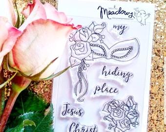My Hiding Place Mini Stamps Christian Scrapbooking Stamping Bible Journaling Masquerade Mask roses Jesus Christ Growing Meadows Tai Bender