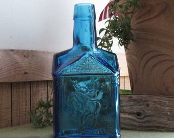 Blue Paul Revere Syrup Bottle Wheaton Glass Circa 1970s Old Bottles Flower Vase Bottles Jars Vintage Advertising Bottle Mary Wheaton Syrup