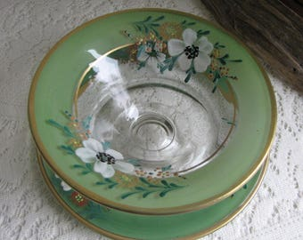 Dogwood Green Hand Painted Bowl and Underplate Indiana Glass Co. 1930s Vintage Dinnerware and Replacements