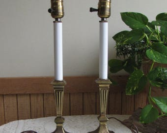 Pair of Brass Buffet Lamps Vintage Lighting and Lamps Two (2)