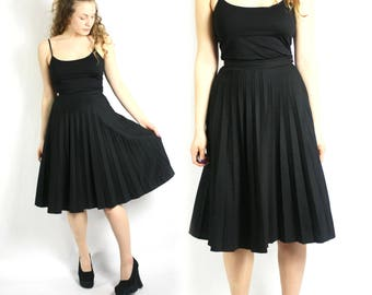 Vintage 70's Black Accordion Pleat Skirt High Waisted - Small