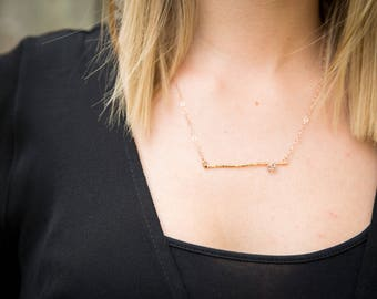 Herkimer Diamond Hammered Bar Necklace (Gold Sterling Silver Rose Gold Raw Quartz Bridal Party Bridesmaid Wedding Gift for Her Under 50)