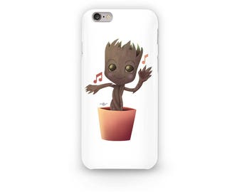 Baby Groot Phone Case Cute Design from the Guardians of the Galaxy from the Marvel Universe. Groot Dancing to awesome mixtape volume 2