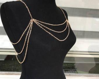 Rose Gold Shoulder necklace, Wedding Jewelry, Shoulder Jewelry