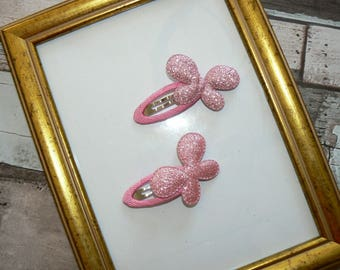 Pair hair clips Butterfly pink