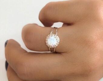 SALE - Opal ring - White opal ring - Rainbow opal ring - Opal silver ring - Opal band ring - Dainty opal ring
