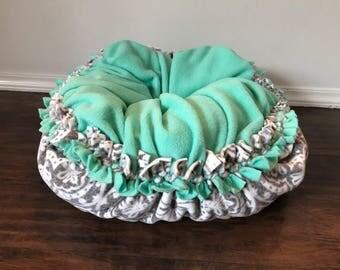 Fleece pet bed, kitten bed, dog bed, plush fleece tie bed, Lux