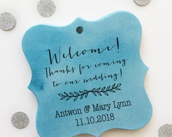 Destination Wedding Personalized Watercolor Favor Tags, Watercolor Wedding Shower Favor Tags, Multicolor Hang Tags (FS-062-WC)