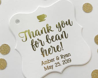 Thank You For Bean Here Favor Tags, Coffee Cup Wedding Favor Tags, Wedding Hang Tags (FS-424-F)