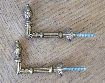 Antique French Drapery Tiebacks Wall Hooks Brass