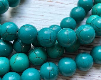 12mm Turquoise Magnesite Beads, Round, 16 in strand, 34pc
