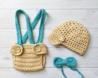 Little Man Suit Handmade Crochet Hat, Diaper cover, Suspenders and Bow Tie * Beige and Aqua
