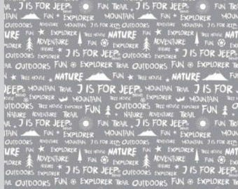 J is for Jeep Brand Words on Gray by Riley Blake Fabrics