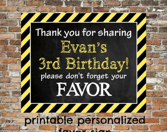 PERSONALZED FAVOR Sign Construction Theme Birthday Printable File PDF 8x10 or 11x14