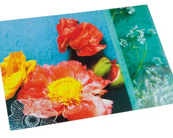 Laminated placemat floral poppies carrots and colorful wild