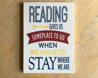 Reading Home Decor - Reading Travel Quote - Book Lover Home Decor - Literary Gift -  Bookworm Wall Hanging - Book Humor Art - Love to Read