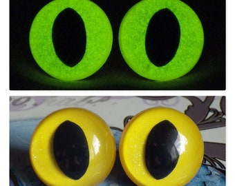 21mm Glow In The Dark Cat Eyes, Yellow Glitter Safety Eyes With Greenish Yellow Glow, 1 Pair of Plastic Safety Eyes