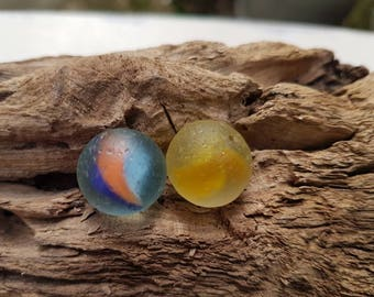PAIR SEA MARBLES ~ Genuine English Sea Glass ~ Cat's Eye ~ Red Blue Yellow Orange ~ Seaglass