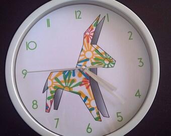 clock wall donkey multicolor pattern design
