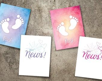 custom greeting card birth announcement, new baby greeting card, customized card, create your own, actual handwriting, baby feet, great news
