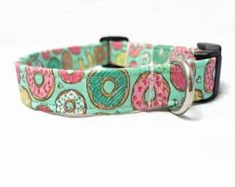 "Dog Collar - ""Donuts 2.0"" - Doughnut Dog Collar - Mint/Candy Colors - Cute Funny Dog Collar - Food/Sweets - Soft Cotton Fabric Collar"