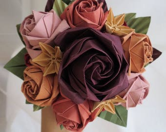 Autumn Origami Bouquet - Complex roses and star flowers