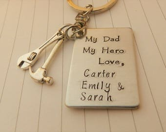 My Dad My Hero,Personalized Daddy keychain, Gift for dad from daughter, from son, child kids name