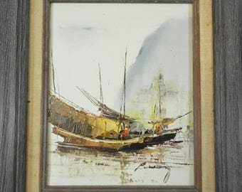 Original Framed Oil on Canvas by P. Wong Chinese Boats Harbor Seascape 1976 8x10