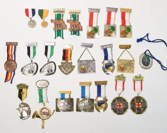 Lot of 22 Early 1970s German Hiking Volksport Wanderung Medals