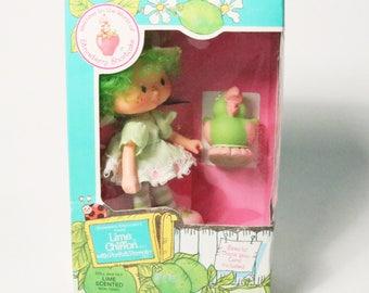 Vtg Kenner Strawberry Shortcake Lime Chiffon Doll w/ Parfait Parrot Pet 1982 New