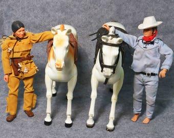 Vtg Lone Ranger & Silver Marx Gabriel Figure Doll Tonto Horse Scout Set