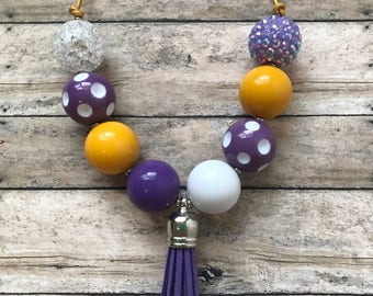 Team Colors - Yellow Gold / Purple Adjustable Chunky Necklace