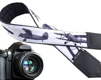 Airplanes camera strap. Grey camera strap. Aircraft. DSLR / SLR Camera Strap. Camera accessories. Soft and durable strap for Nikon, Canon..