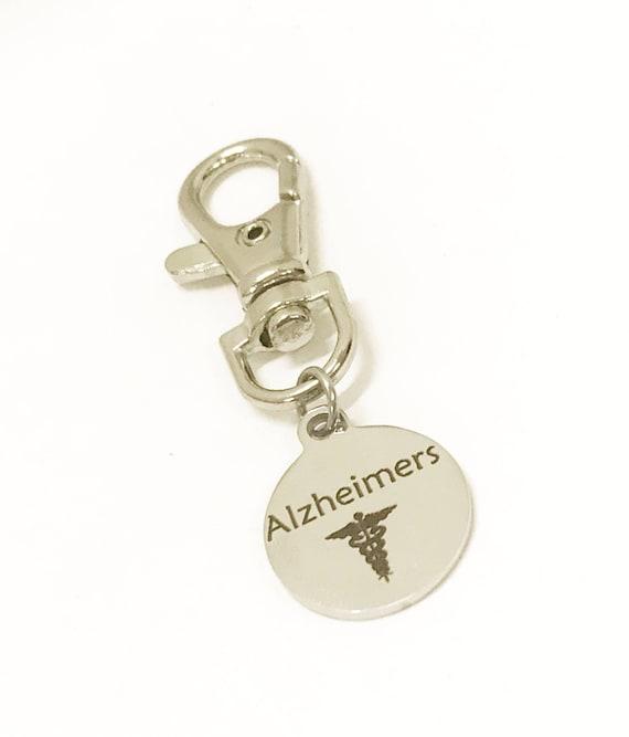 Alzheimer's Zipper Pull, Alzheimer's Patient Items, Alzheimer's Medical ID, Medical Zipper Pull, Alzheimers Medical ID Zipper Pull