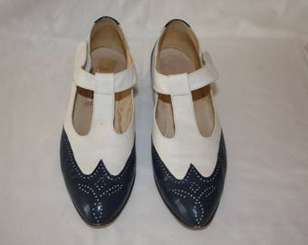 Blue and white T-strape pumps size 10 M