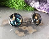 Black Opal Earrings | Sparkle earrings | galaxy earrings | crystal earrings | Glitter studs | round earrings | geometric | hypoallergenic