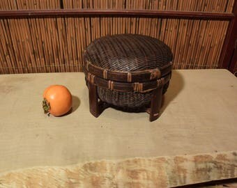 Small Antique Southeast Asian Bamboo Footed Storage Basket With  Lid