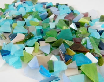 Polished Glass Mix in Blues, Greens, and Purples - 5 oz Bag