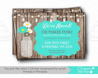 Rustic Moving Announcement | Mason Jar New Address Card | Printed or Printable