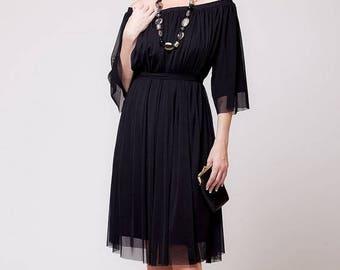 FLASH SALE Bohemian Greek dress, classic black chiffon dress - women wear off the shoulder    sizes : XS / S / M / L / Xl