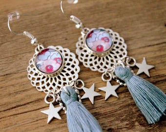 Bohemian earrings liberty grey and pink with gray beaded tassel and stars